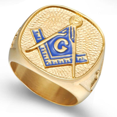 Gold Tone Stainless Steel Masonic Ring