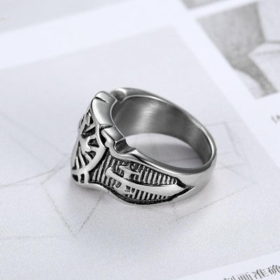 Stainless Steel Armor Shield Ring Knight Templar Rings