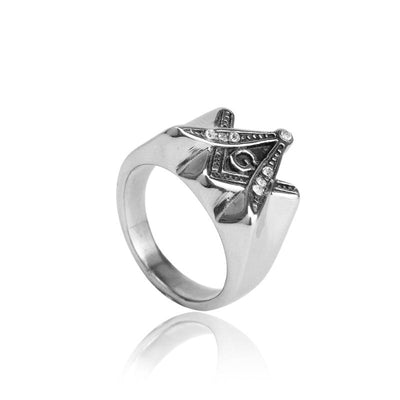 Vintage Ring Silver Color Freemasonry Ring