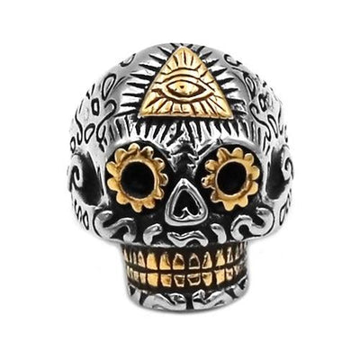 Stainless Steel Illuminati Pyramid Eye Skull Ring