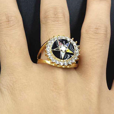 stainless steel gold OES masonic women rings