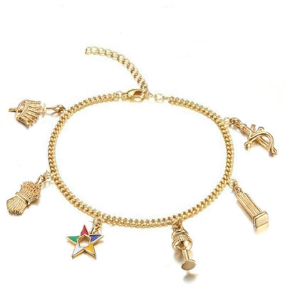 Elegant fashion gold women masonic freemason jewelry OES charms bracelets
