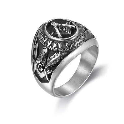 stainless steel masonic symbol rings anti silver freemason AG rings