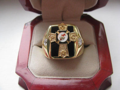 Natural Onyx 18k Gold Filled Mens Knights RIng