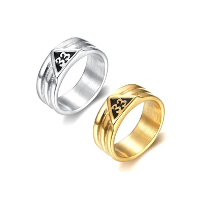 stainless steel silver gold scottish rite freemason ring
