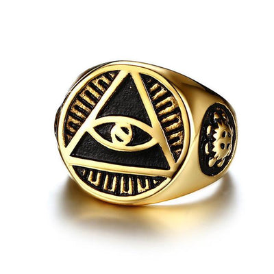 Illuminati Pyramid Eyes Symbol Pattern Gold Color Ring