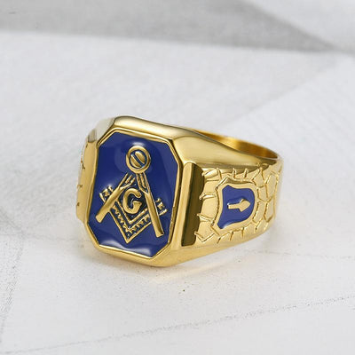 Stainless Steel Gold Blue Freemason Rings