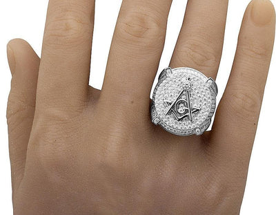 Men's white Gold Filled Lab Diamonds 3D Masonic Engagement Pinky Ring
