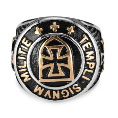 Knights Templar Iron Cross Gold Silver Color Statement Ring