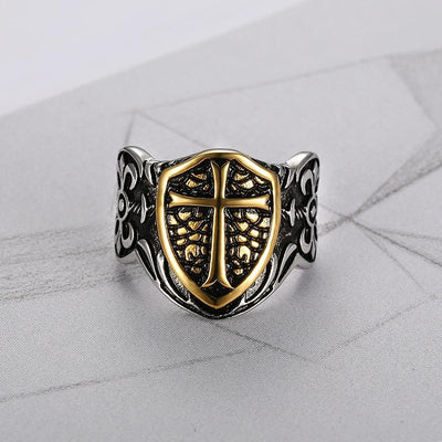 Stainless Steel Gold Color Jesus Cross Knights Templar Ring