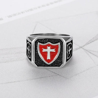 Vintage Stainless Steel Titanium Red Armor Shield Knight Templar ring