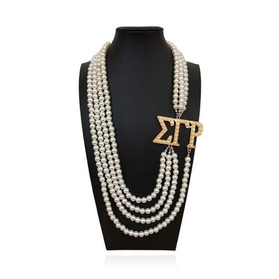 Sigma Gamma Rho White Pearl SGR Pendant Multilayer Statement Jewelry Long Choker