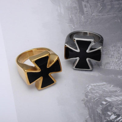 Stainless Steel Gold Knights Templar Black Cross Ring