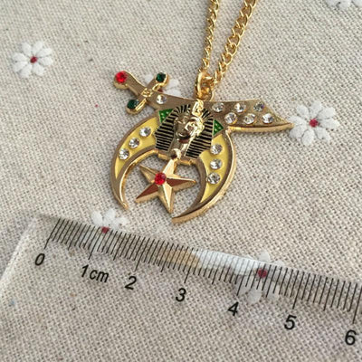 Shriners Necklace Pendant Shriners Rhinestone Jewel Pendant