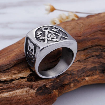 Silver Color Stainless Steel Skull Freemasonry Ring