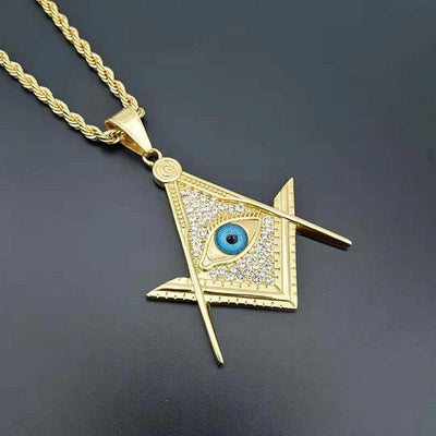 Gold Color Eye Freemason Masonic Pendant Necklaces