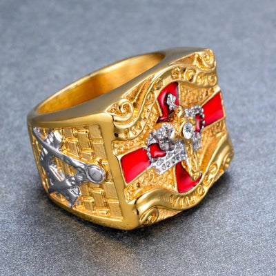 Stainless Steel Knight Templar Masonic Ring Gold Color Cross & Crown Rings
