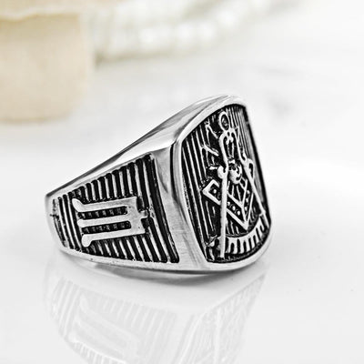 Stainless Steel Masonic Black Ring