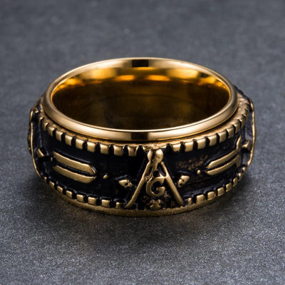 Gold Color Stainless Steel Freemason Ring