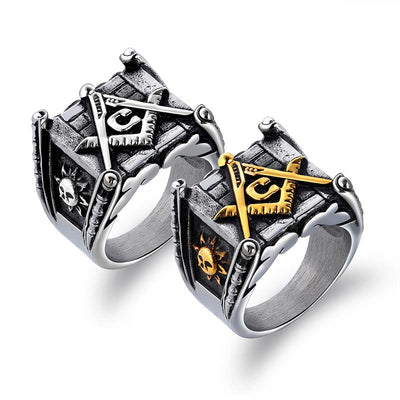 Titanium Steel Geometric Square Rings