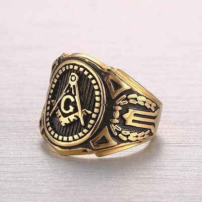 Stainless Steel Gold Plated Vintage Freemason Ring