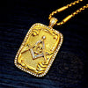 Stainless Steel Gold Tone Rhinestone Men's Masonic Dog Tag Pendant Necklace