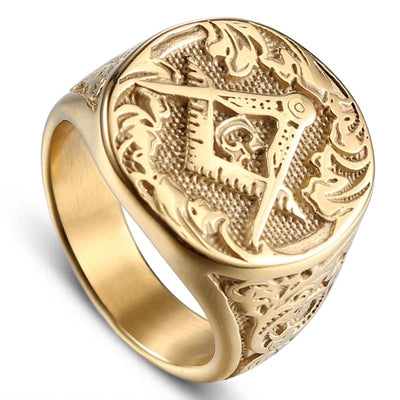 Gold Color Titanium Stainless Steel Freemason Ring