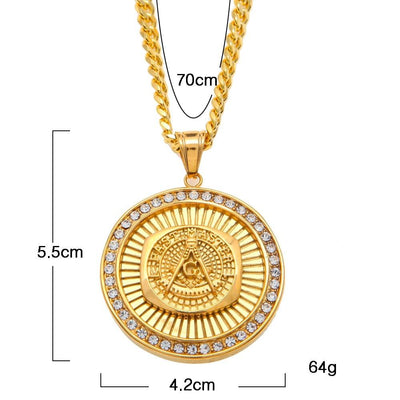 Gold Stainless Steel Freemason Necklaces