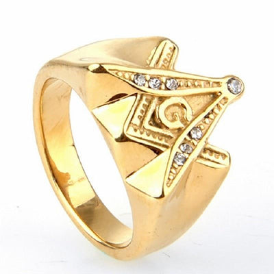 Stainless Steel Gold Freemason Ring
