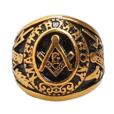 Gold Tone Master Mason Stainless Steel Masonic Ring