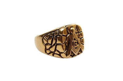 Stainless steel gold Masonic Ring