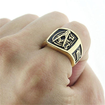 Stainless Steel Gold Tone Freemason Ring