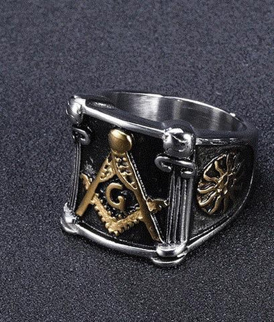 Gold Silver Stainless Steel Freemason Ring