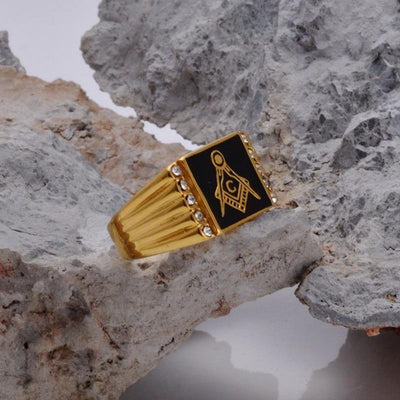 Titanium steel gold masonic gold ring