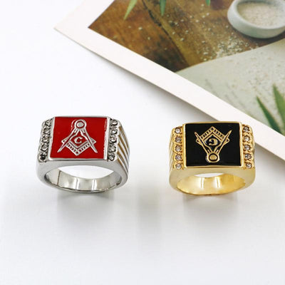 Vintage Crystal Masonic Gold Color Stainless Steel Men Ring
