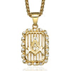 Men's Hip Hop Freemason Necklace Gold Tone