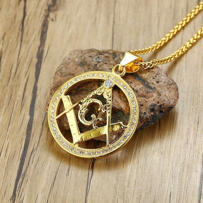 Gold Color Stainless Steel Freemason Necklace