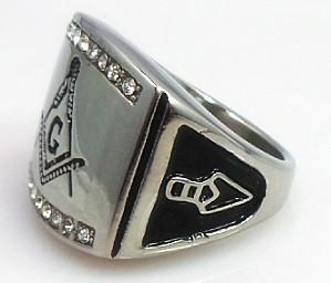 Silver Ang Gold Stainless Steel Freemason Ring
