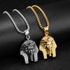 Ancient Egypt Pharaoh King Stainless Steel Silver Gold Pendant Necklace
