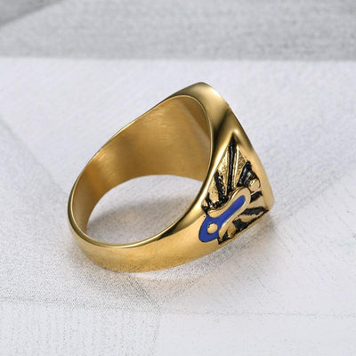 Vintage Stainless Steel Gold Freemasonry Ring