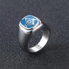 Stainless Steel Silver Masonic Ring Blue Color Mason Freemasonry Rings