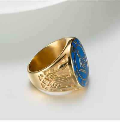 Titanium Steel Blue Enamel Freemason Ring