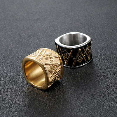 Stainless Steel Gold color Masonic Signet Rings