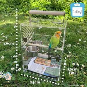 Size measurement of BIRDKIN Travel Carrier for Small Parrots Parrot Funhouse