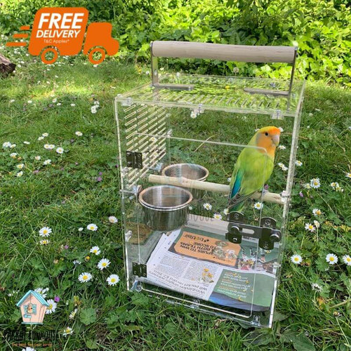 BIRDKIN Travel Carrier for Small Parrots Parrot Funhouse