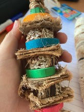 Load image into Gallery viewer, Real life photo Boredom Breaker Coconut Fibre Stacker Parrot Funhouse