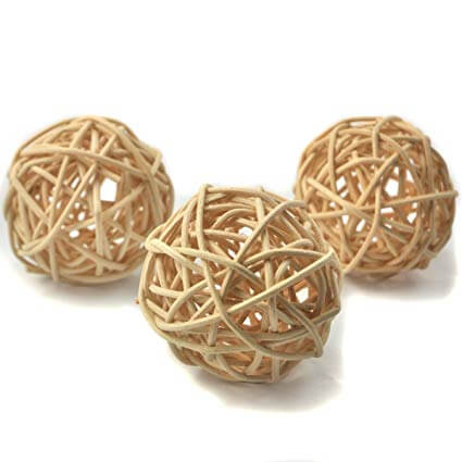 10 Natural Untreated Rattan Balls Parrot Funhouse