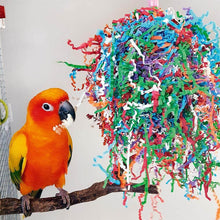 Load image into Gallery viewer, Sun Conure playing with Super Party Bonanza Parrot Funhouse