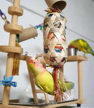 Load image into Gallery viewer, Peach Faced lovebird foraging Boredom Breaker Small Foraging Cylinder Parrot Funhouse