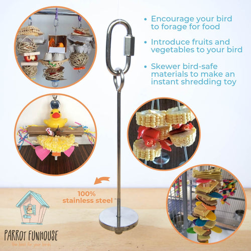 Stainless steel skewer 12cm Parrot Funhouse
